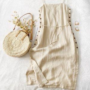 NWT Rujuta Sheth Sandstone Side Button Slit Dress